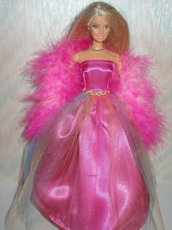 Handmade Barbie doll clothes - Magenta satin and tulle gown with boa