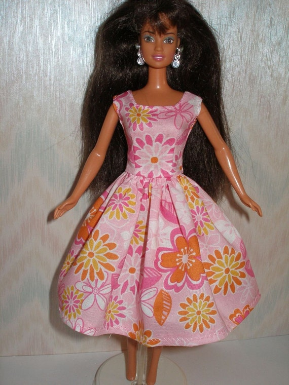Barbie doll clothes  - handmade pink floral barbie dress