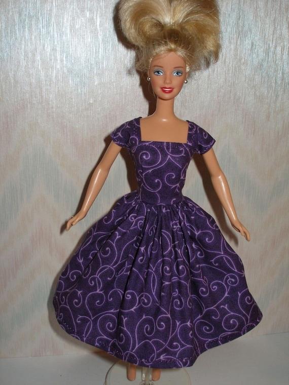 Handmade barbie doll clothes - purple dress