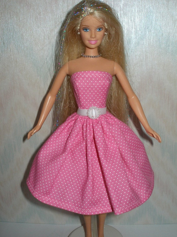 Handmade Barbie clothes - pink and white dot dress