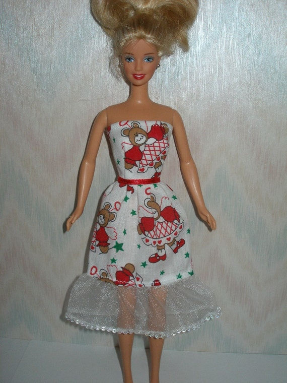 Handmade Barbie clothes - white and red holiday dress