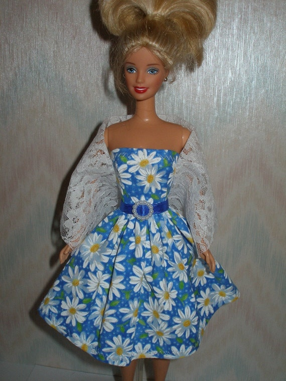 Handmade Barbie clothes - blue and white daisy dress with white lace stole