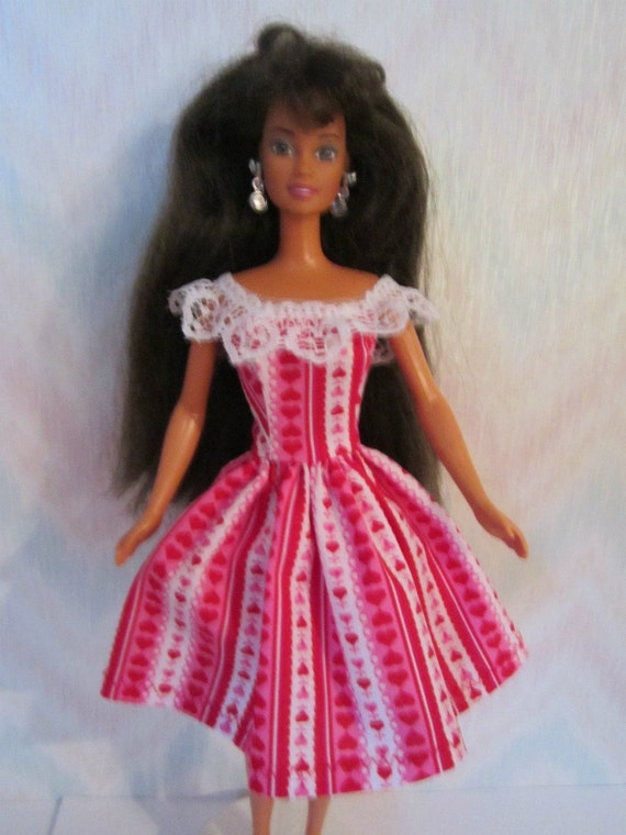Handmade Barbie doll clothes -  red and white valentines dress