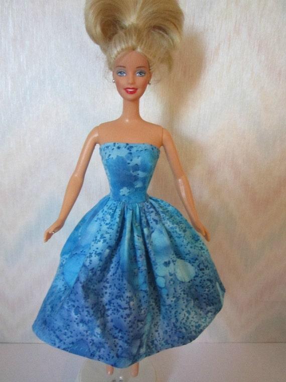 Handmade Barbie clothes - blue dress