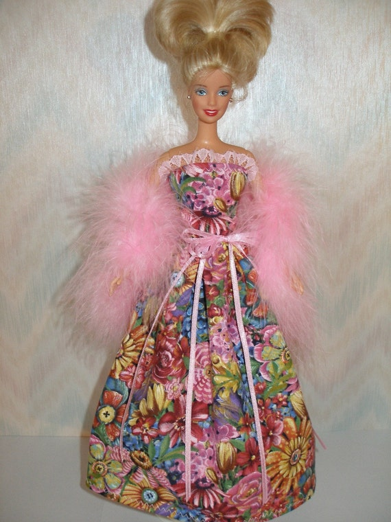 Handmade Barbie doll clothes - pink floral gown with boa