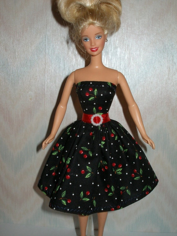 Handmade Barbie clothes - black and red cherry print dress