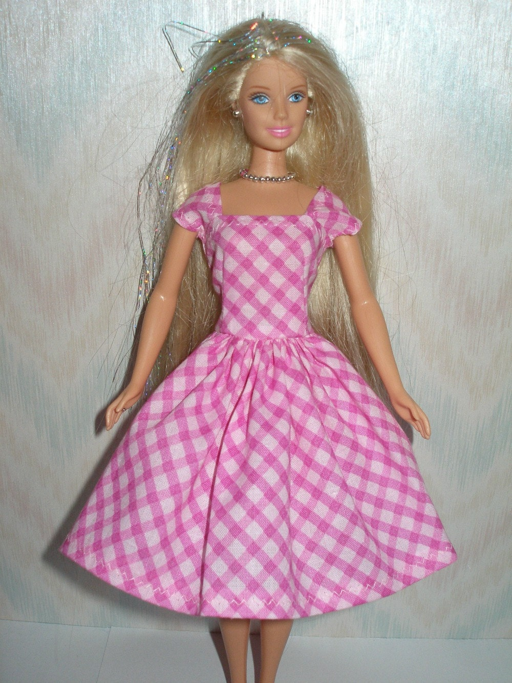 Handmade Barbie doll clothes pink plaid dress by TheDesigningRose
