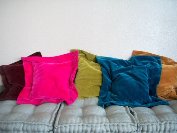 Fuschia Velvet Throw Pillows : FIVE Square VELVET Throw Pillows Green Fuschia Burgundy Teal