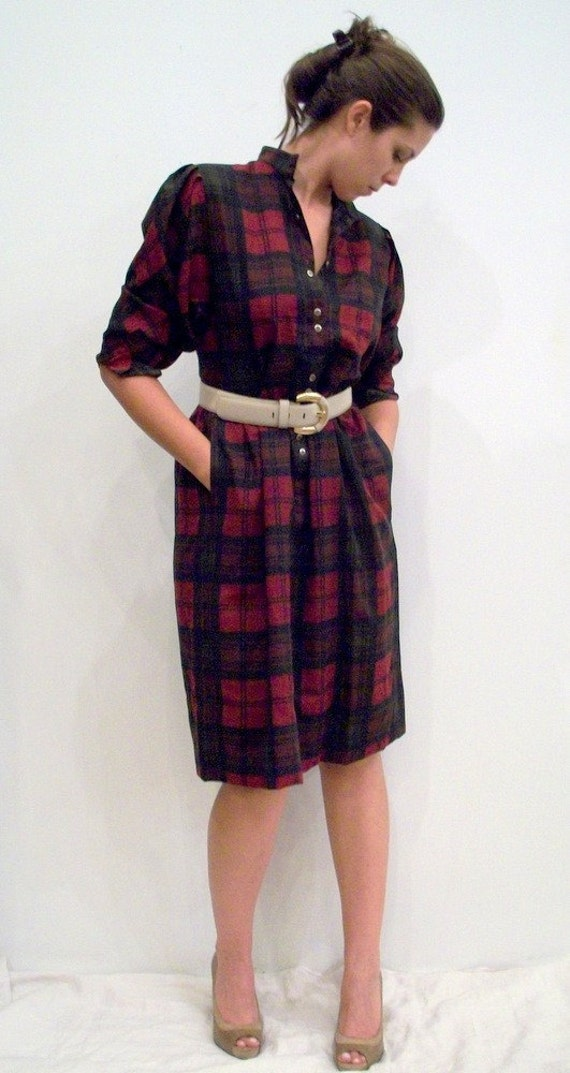 SALE /// Vintage Wool Plaid Dress by JAEGER Paris London New York Olive Green & Oxblood Red Size 10 Medium or Large  Free Shipping