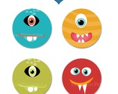 Monster Cupcake Toppers  - 2 inch Circle Monster Cupcake Toppers