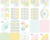 Pastel Owl Printable Party - Birthday Banner,  Cupcake Toppers, Hats and more