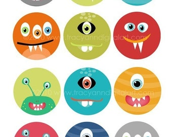 Printable 1 inch Digital Circle Collage Sheet  Monsters 4 x 6 inch
