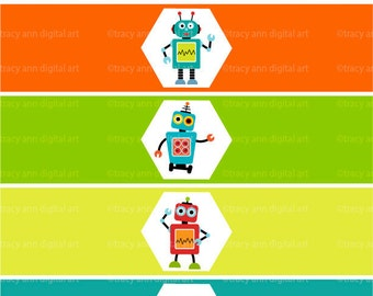 Robot  Printable Water Bottle Wraps - Paper ribbons Printable party. Instant Download