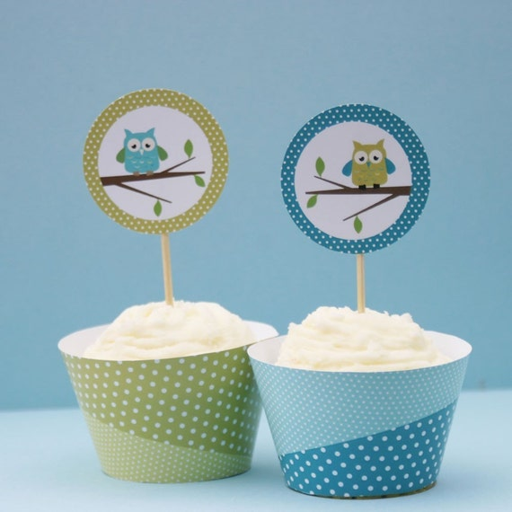 Happy birthday Owls Cupcake Toppers and Wrappers -  Printable