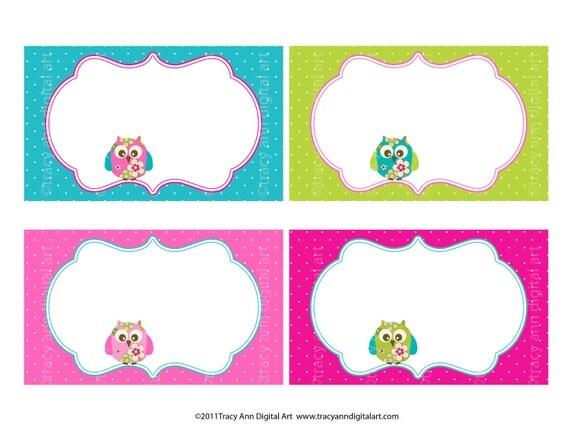 Pink and Aqua Summer Owls and florals  3 x 5 printable card Labels