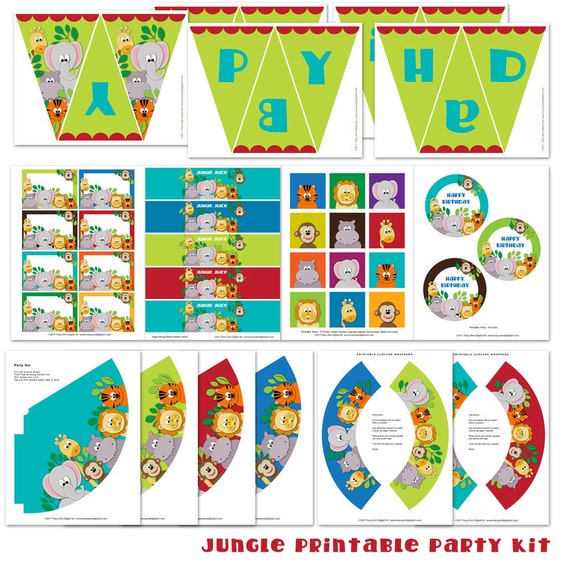 jungle animal printable party diy birthday banner cupcake
