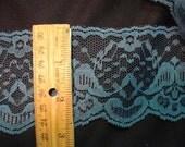 Vintage Wide Lace Trim - Teal Color - 3 Yards Total -  (27)