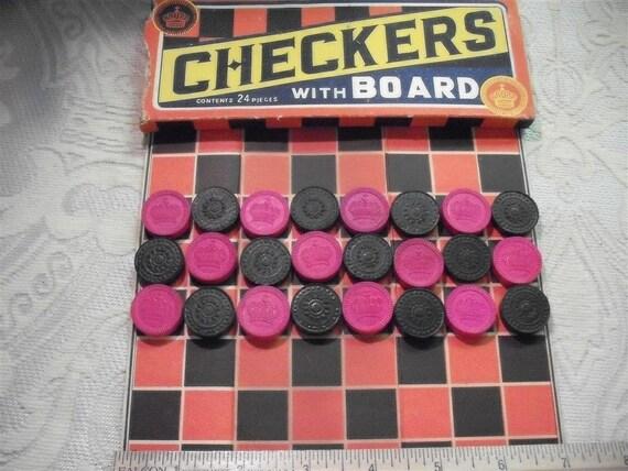 Vintage Miniature Checkers Set -Little King Me