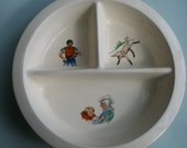 Vintage Mid Century Baby Food Bowl Divided Dish Warming Plate Nursery Rhyme Theme
