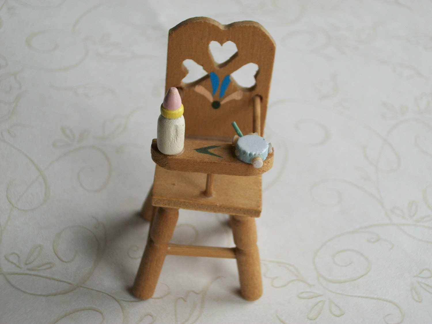 Vintage 1980 39 S Miniature Wooden Baby High Chair