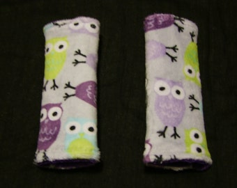 Purple Owly MINKY Car seat Strap Covers- Ships in 1-3 Days