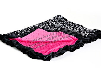Damask with HOT PINK Minky and Satin Ruffle- Ships in 1-3 Days