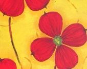 Red Dogwood on yellow painting