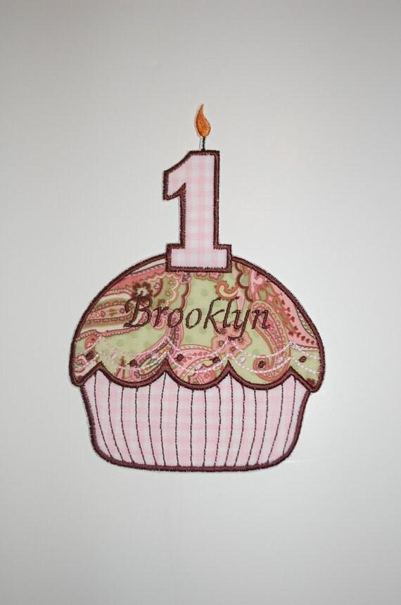Iron On Applique - Birthday Cupcake (1-9)