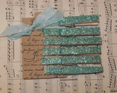 Tiffany and Co. Inspired Glittered Clothespins-Clothes Pins-Embellishment-Wedding-Altered Art-set of 6