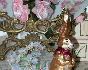 Glass Bunny Ornament-Easter-Christmas-Feather Tree-Old Worlds Style