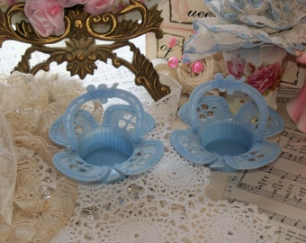 Vintage Party Favor-Candy Container-Nut cups-Easter-Old-BEST Co-Blue Clovers