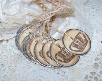Crown Tags-Ephemera-Primitive-French Market-Set of 8