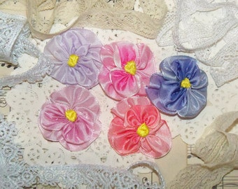 Handmade Violets from French Ombre Ribbon-Silk Ribbon Embroidery-Set of 5