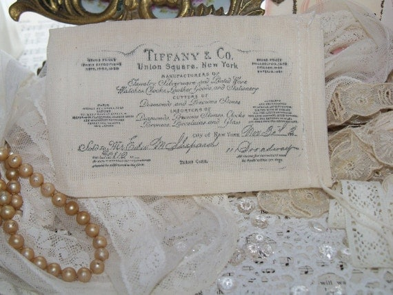 Vintage Tiffany and Co. Jewelry Store Reciept-Hand Stamped-Muslin Bags