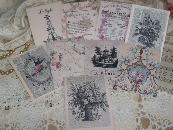 Beautiful French Roses Wallpaper Store Tags-with vintage Seam Binding Ties-Set of 6