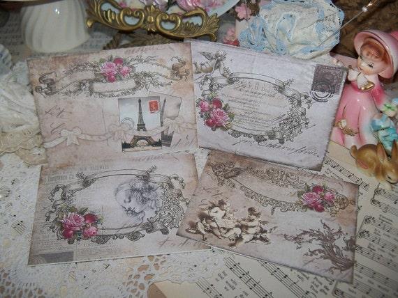 Vintage French Postcards-Bonne Fete-set of 4-ATC