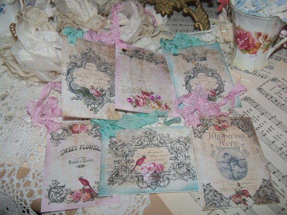 Antique Patina in Pink and Aqua Tags-with vintage Seam Binding Ties-Set of 6-ATC