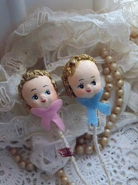 Vintage Composition Doll Head Picks-Corsage-Spun Cotton-Old Stock-Made in Japan