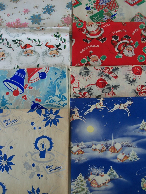 Vintage Christmas Gift Wrap-Wrapping Paper Lot