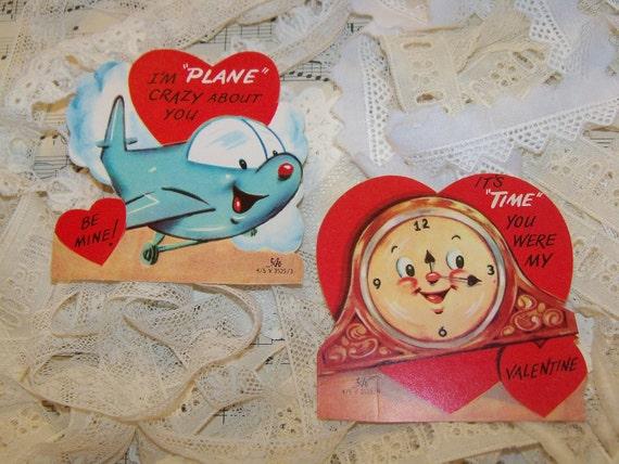 Vintage Childrens Valentine Cards-Anthropomorphic-1950s-A Merri Card-Gibson-Hallmark-Greeting Cards-Ephemera-Meri-Card