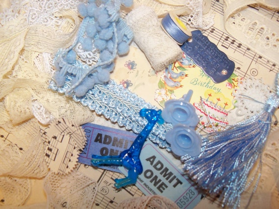 Bitty Embellishment Kit-DIY-Vintage Altered Art Kit-Assemblage-Scrapbooking-Mixed Media-Collage-Supplies-BLUEBIRDS