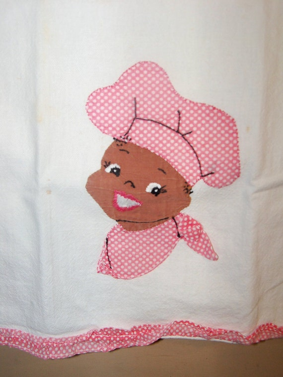 Vintage Tablecloth Kitchen Tea Towel-Black Americana-Mammy-Chef-Embroidered-Appliqued-Pink Polka Dot