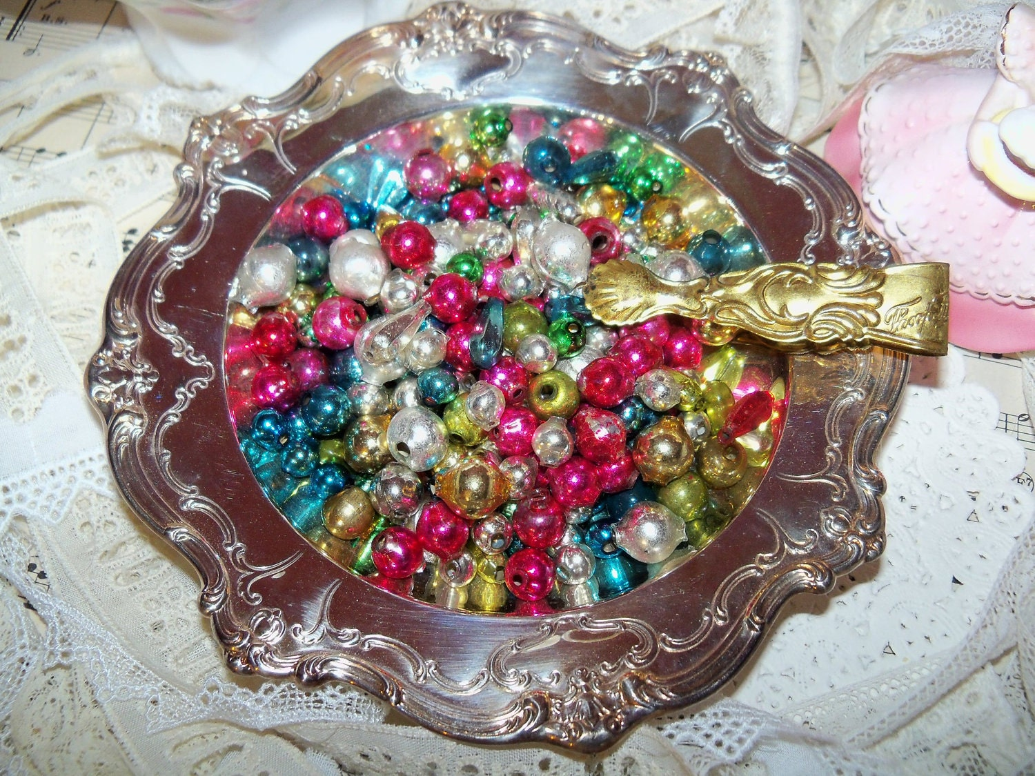 Vintage christmas mercury glass garland beads by