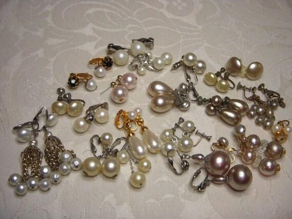 Destash Lot of 19 Pairs of Vintage Pearl Earrings Wear or Repurpose