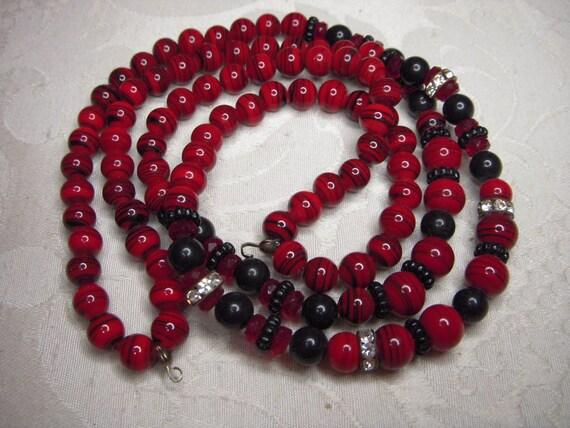 Destash Red and Black Artglass Beads for Repurposing and Jewelry Making