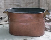 Antique Copper Wash Tub Laundry Tub Double Boiler Amazing Condition Party Tub