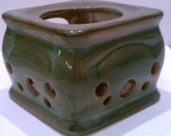 SALE: Vintage Art Pottery Stangl Candle Warmer or Candle Holder Terra Rose Green