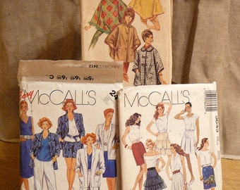 SALE Vintage 1960's Simplicity Poncho Coats and two 1980's McCalls Sewing Patterns Skirts: Collection of 3 tons of Patterns