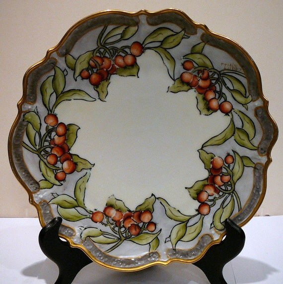 C Tielsch and Co Art Nouveau Arts and Crafts Plate Signed Keramic Antique Hand painted berries or crab apples signed
