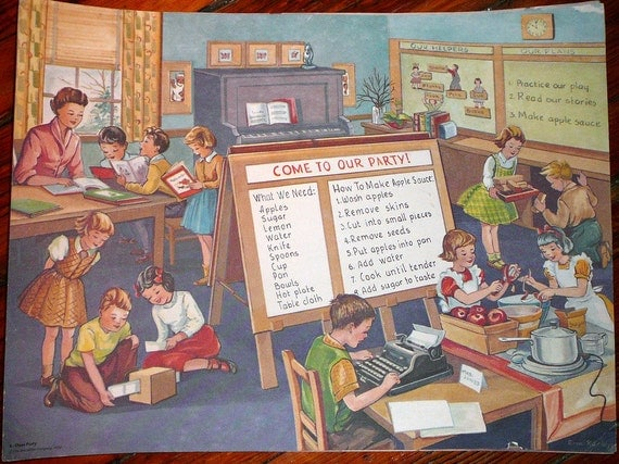 Vintage Classroom Poster: Classroom Party Educational Chart